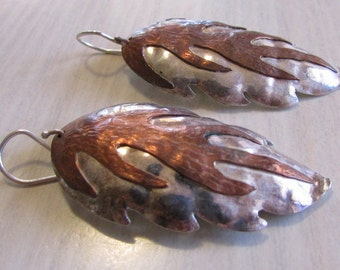 Sterling Silver and Copper Dangle Wire Earrings