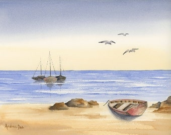 Watercolor Seascape Painting Boats Coastal Decor 8x10 Print Wall Art Nautical Beach Home Decor