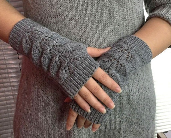 SALE Hand knit Fingerless gloves womens GRAY wool
