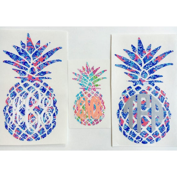 lilly pulitzer inspired pineapple monogram decal. Black Bedroom Furniture Sets. Home Design Ideas