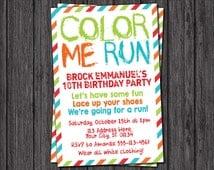Color Run Invitation - Color Run Birthday Party Invitations