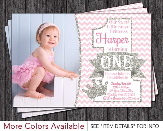 Princess First Birthday Invitation Pink and Silver 1st – First Birthday Princess Invitations