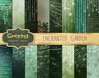Enchanted Garden Digital Paper, fairy lights fantasy backgrounds, old vintage paper textures, green magic digital papers commercial use