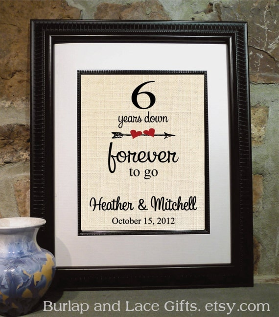to Go, 6th Wedding Anniversary, Personalized Burlap Print, Gift ...