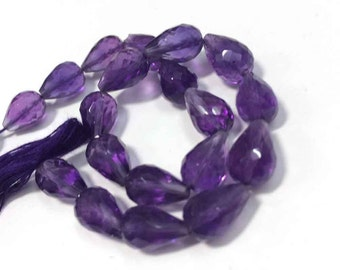 "AAA Amethyst faceted tear drops straight drill loose gemstone beads 8""inch strand"