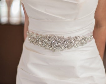 Bridal belt- bridal sash Crystal Rhinestone Bridal Belt on Satin Sash -embellished Belt - bridal applique - Wedding Accessories  -  EYM b006