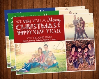 We Wish You a Merry Christmas Christmas Photo Printable Christmas Card (Available in Red, Green, or Blue!)