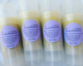 Organic Lavender & Rosemary Deodorant, Aluminum-Free Natural Deodorant - 2 ounce stick!