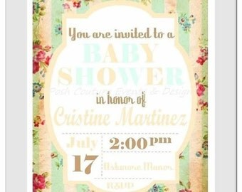 Vintage Invitation/ Vintage Floral Invitation/ Vintage Baby Shower/ Vintage Party Invite/ Baby announcement