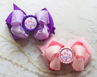 Big Sister Hair Bow, Little Sister Hair Bow, Big Sister Bow, Pink Hair Bow, Purple Hair Bow, Baby Hair Bow, Girls Hair Bow