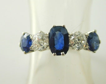 Sapphire & diamond ring antique platinum circa 1920s 1.75 carats size O stunning
