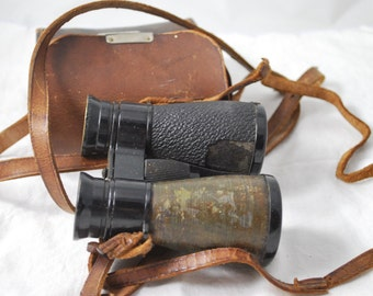 Vintage Binoculars , Leather Bag , Bird Watching