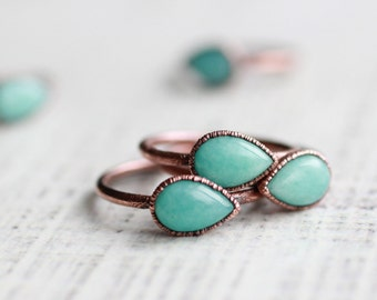 Amazonite Ring Copper ring Pear Ring Aqua ring Aqua jewelry Amazonite jewelry Aqua Amazonite ring Wedding ring