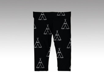 Teepee Black Baby Leggings - Tribal Baby Clothes - Gender Neutral - Hipster Baby Boy Cothes - Baby Gift