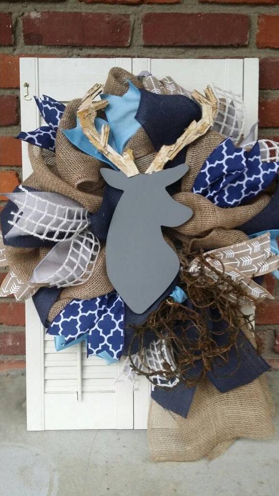 deer nursery decor deer baby shower decor burlap gray deer wreath navy