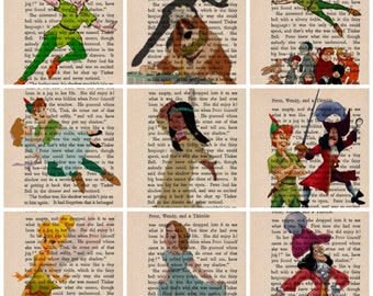 Peter Pan Dictionary  Art Vintage Print choice of 30 pictures - buy 3 & choose 4th free Wendy Tinkerbell Captain Hook Lost Boys Tiger Lilly