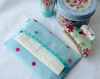 Fabric pocket tissue holder, travel tissue cover, handbag tissue pouch.