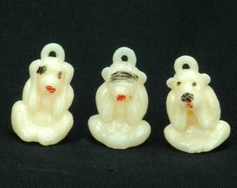 Vintage WISE MONKEYS See-no-Evil Hear-no-Evil Speak-no-Evil Monkey hard plastic gumball vending CHARMS - Set of 3