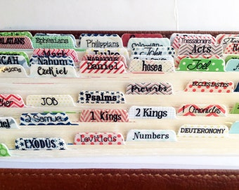 Bible Tabs - Bible Journaling Tabs -  Fun Fonts and Patterns - Laminated Stickers BT116