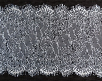 3yds of Wide White lace fabric trim, double scallop with eyelash edges 32cm. For garments or table runner