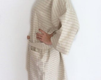 Authentic Japanese Kimono Robe, Hemp Yukata Robe, Cream Kimono Robe, Maternity Robe, Bath Towel, Sleepwear, Bridesmaids Robe, Dressing Gown