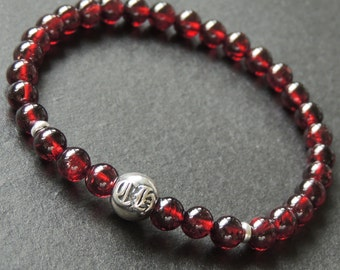 Men's Women Garnet Sterling Silver Bracelet AAA Gemstone 925 Bead Spacers DiyNotion Handmade BR621