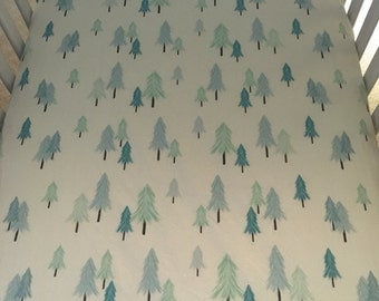 winter wispy trees crib sheet in cream//fitted crib sheet//forest crib sheet
