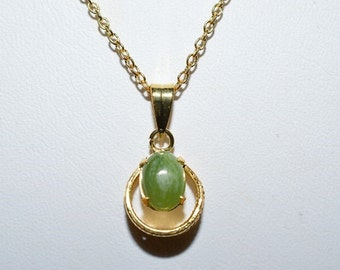 Vintage, Jade Gold Filled Pendant Necklace (1050043)