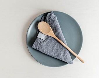 Linen napkins (FREE SHIPPING).The set of 4 washed dark grey/gray/graphite natural, eco-friendly, handmade linen napkins