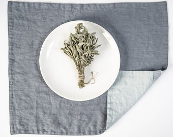 Set of 4 dark grey/graphite and ice blue/silver grey linen placemats. Reversible/double side linen placemats.