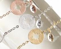 Personalized compass bracelet, Wanderlust bracelet, Friendship bracelet, Compass jewelry, Nautical bracelet, Initial bracelet