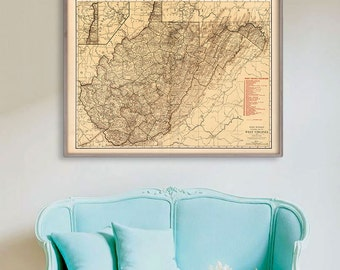 "Map of West Virginia 1924, Vintage West Virginia map, 4 sizes up to 48x36"" West Virginia state map also in blue - Limited Edition of 100"