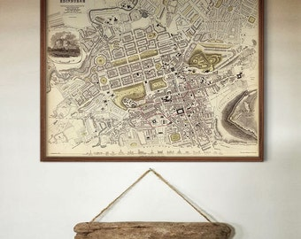 "Map of Edinburgh 1834, Old Edinburgh Map, Blue or Sepia, 3 sizes up to 30x24"" (75x60 cm) Edinburgh, Scotland - Limited Edition of 100"