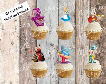 24 x Pre Cut Edible Stand up Alice in Wonderland Cupcake Toppers