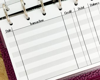 Pocket Checkbook Register printed planner insert - finances - record keeping - check statement - #323