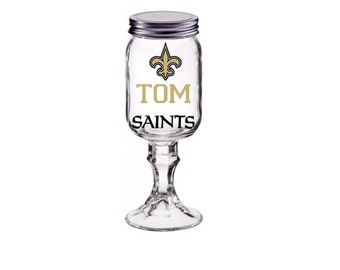 Monogrammed New Orleans Saints Redneck Wine Glass-NFL mug-Saints Merchandise-Saints Gifts-Saints Store