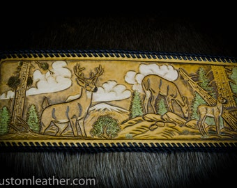 Hand-Carved Leather Billfold featuring a Deer Family