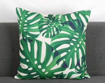 "Decorative throw pillow/Green leaves cushion cover/pillow case/ cushion shell 18x18"""