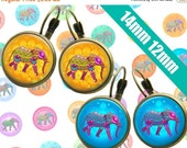 SALE 75% Ethnic Elephants Digital Collage Sheet 14mm 12mm Printable Circles Download for pendants  earrings cufflinks rings - 113
