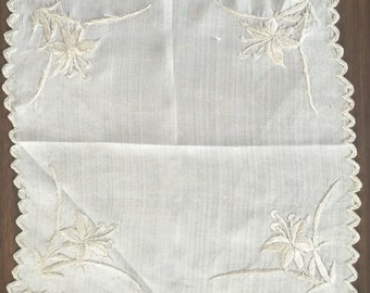 Silk Vintage Ladies Handkerchief Scalloped Edges Lilly Embroidery Wedding, Gift