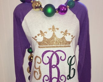 Personalized Mardi Gras Shirt | Monogram Shirt | Mardi Gras T-Shirt | Glitter Monogram Shirt | Glitter Mardi Gras Shirt | Mardi Gras Shirt