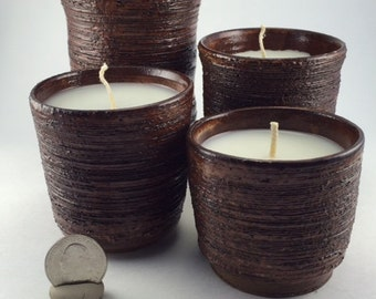 Set of Four Textured Candles