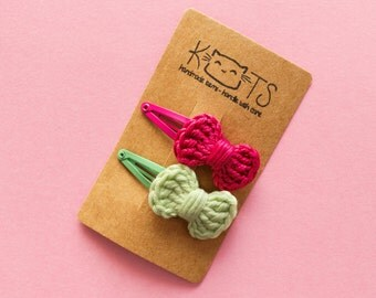 Mini Crochet Bow Snap Clip Set Baby Hair Accessories Hair Clip Bow Barretts, Choose 2