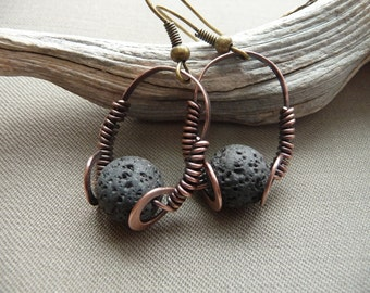 Minimalist Earrings Jewelry Metalwork Dainty Earrings Jewlery Earings Black Lava Rock Stone Earrings Volcanic Lava Earrings Copper Earings
