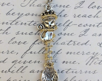 Silver Kitty Gold Wire Wrapped Spoon Pendant Chain Necklace