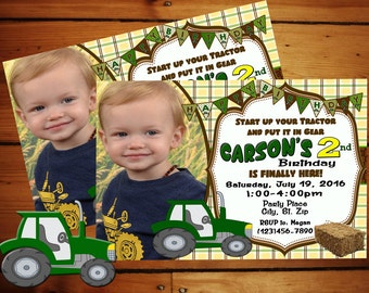 Start Up Your Tractor Birthday Invitation/ Tractor Birthday/ Tractor Invitation/ Tractor Birthday/ Kids Birthday/