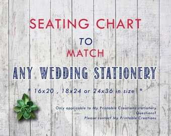 Printable Wedding Seating Chart, Matching Seating Chart, Custom Seating Poster, Custom Wedding Seating Chart (Your Choice in Colors)