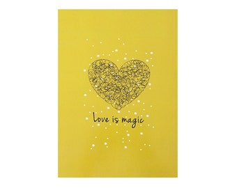 Illustrated Notebook 100 lined sheets A5 14.8cmX21cm Love is magic Mustard color Love Motivational Notebook Minimalist design