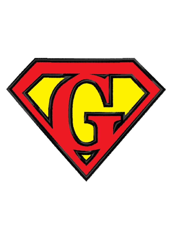 Superman Letter G...Applique Machine Embroidery DESIGN NO. 258