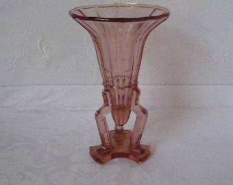 """1930s Art Deco Pink Pressed Glass Rocket Vase 17cms 6 1/2"""""""